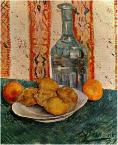 Still-Life-with-Decanter-and-Lemons-on-a-Plate by Van Gogh